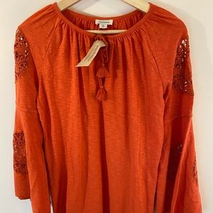 Sundance Peasant Top with Bell Sleeves And Lace